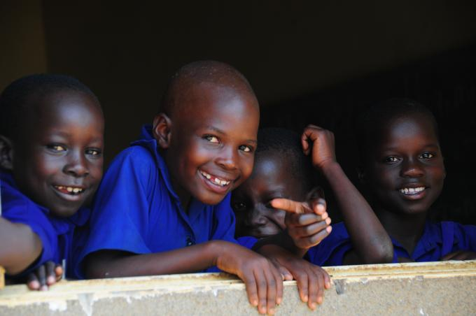 Children in a school supported by Save the Children in Gulu district.
