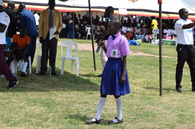 Lakica Prossy, in Primary 7, gives a speech about children's rights