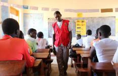 David in class in Rhino refugee settlement